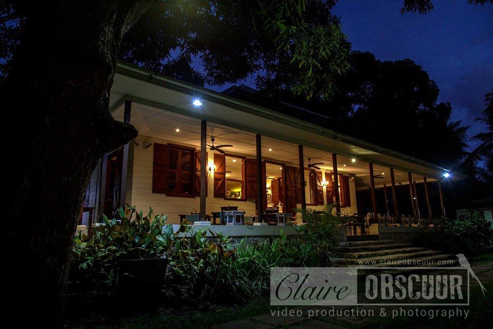 Gastronomic restaurant la grande maison back terrace evening seychelles with la grand maison